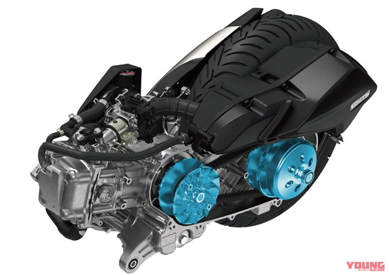 Pada layout mesin yang baru terdapat L crankcase, drive & driven sprocket, serta gear ratio yang semakin luas. Mekanisme continuous idling stop eSP menghasilkan tenaga yang lebih besar saat berada di putaran atas dikarenakan perubahan pada intake & knalpot.