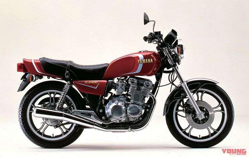 [Yamaha XJ400 dirilis bulan Juni 1980] Model awalnya memakai knalpot 2 silinder, engine silver. Tersedia dalam warna merah, hitam, dan silver.