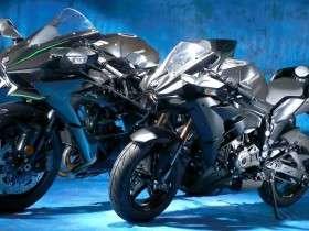 Kawasaki Ninja H2 (Kiri) dan h2 Pleasure Bike Shop (Kanan)