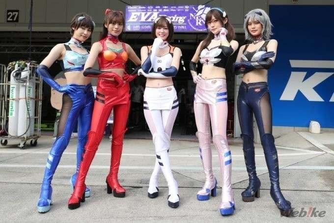 evangelion eva rt webike tati team trick star umbrella girls
