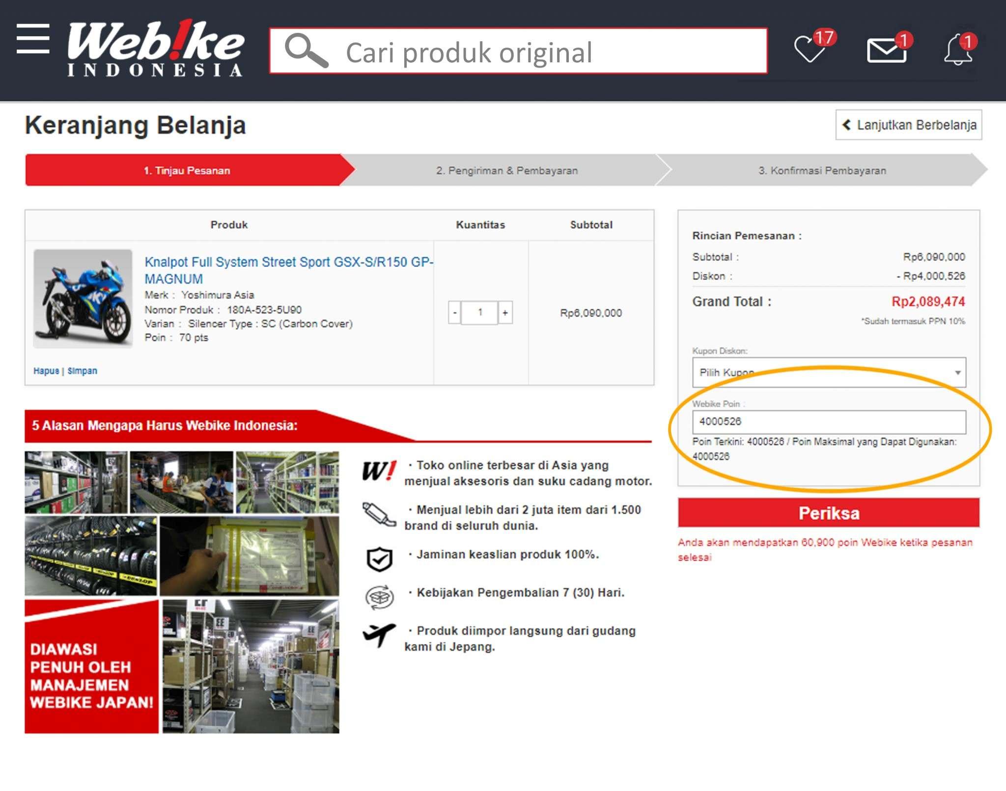cara menggunakan promo cashback webike indonesia