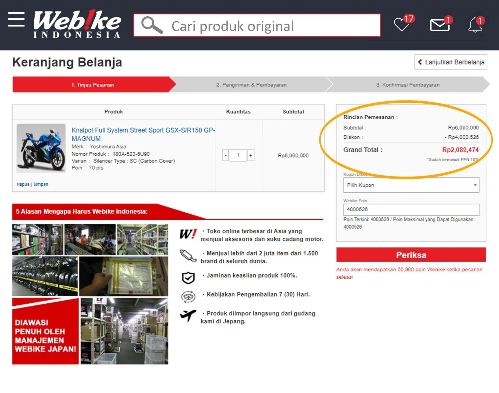 kelebihan beli sparepart motor original webike indonesia